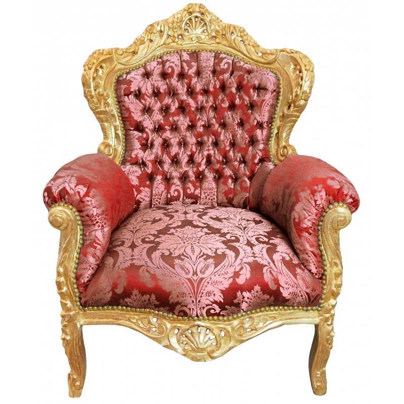 grand fauteuil de style baroque tissu satin rouge gobelins et bois dor. Black Bedroom Furniture Sets. Home Design Ideas