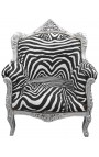 "Armchair ""princely"" Baroque style zebra and silver wood"
