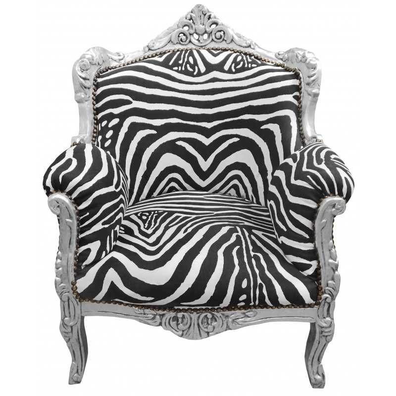 fauteuil princier de style baroque zebre et bois argent. Black Bedroom Furniture Sets. Home Design Ideas