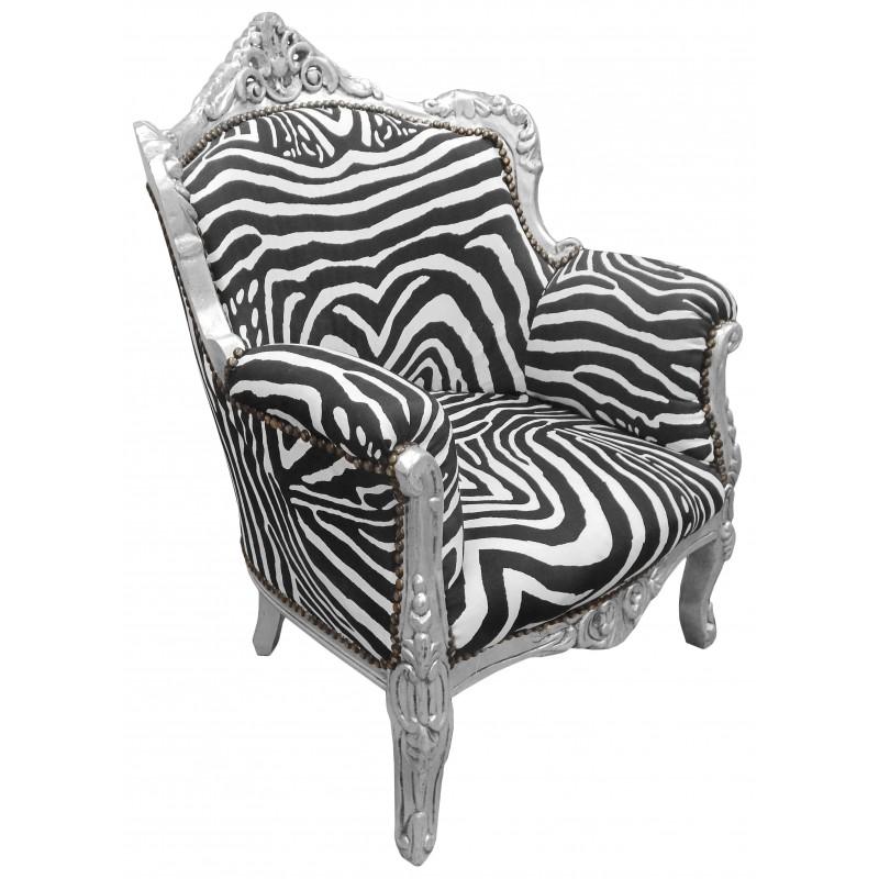 fauteuil princier de style baroque zebre et bois argent. Black Bedroom Furniture Sets. Home Design Ideas