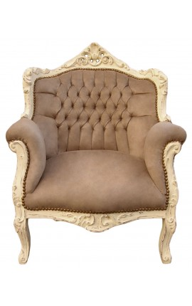 "Armchair ""princely"" Baroque style taupe velvet and beige patinated wood"