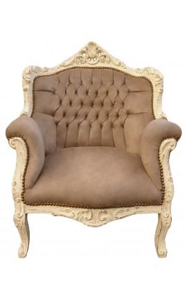 """Fauteuil """"princier"""" de style Baroque velours taupe et bois beige patiné"""