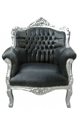 "Armchair ""princely"" Baroque black false skin leather and silver wood"