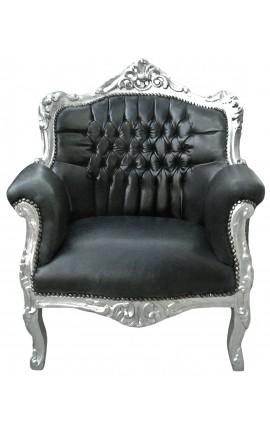 """Fauteuil """"princier"""" de style Baroque cuir noir véritable et bois argent"""