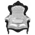 Grand fauteuil de style baroque simili cuir argent et bois noir
