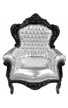 Big baroque style armchair faux leather silver and black wood