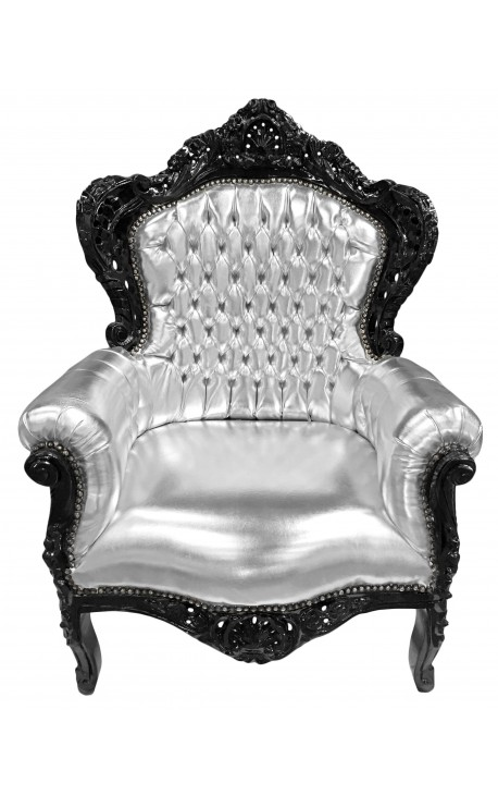 grand fauteuil de style baroque simili cuir argent et bois noir. Black Bedroom Furniture Sets. Home Design Ideas