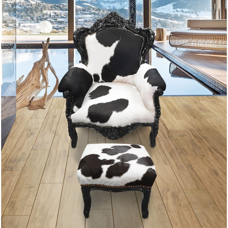 grand fauteuil baroque vrai peau de vache noir et blanc bois noir. Black Bedroom Furniture Sets. Home Design Ideas