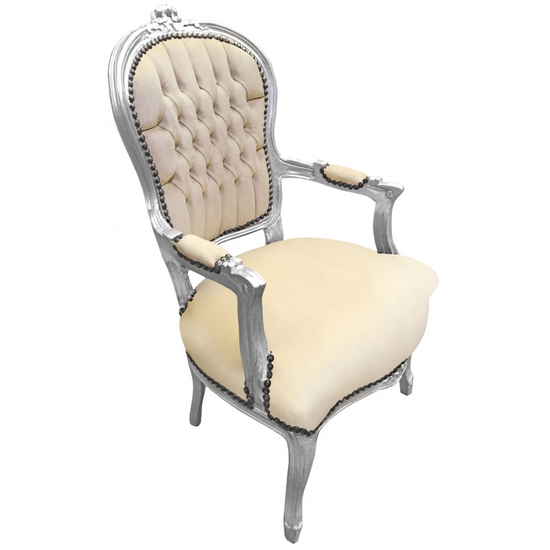 fauteuil baroque de style louis xv beige et bois argent. Black Bedroom Furniture Sets. Home Design Ideas