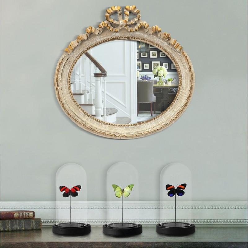 miroir ovale horizontal de style louis xvi patin gris et dor. Black Bedroom Furniture Sets. Home Design Ideas