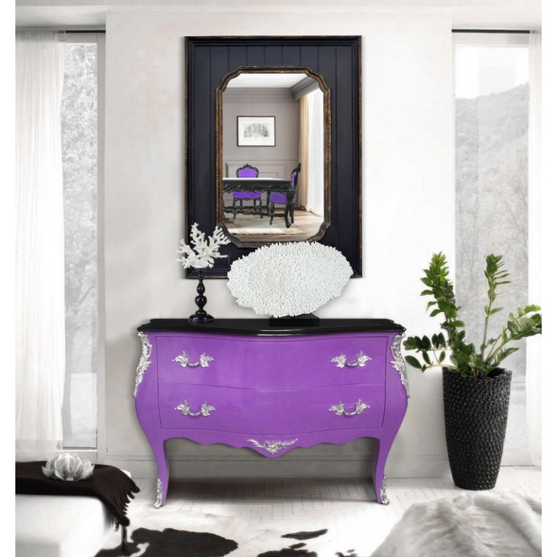 commode baroque de style louis xv mauve et plateau noir. Black Bedroom Furniture Sets. Home Design Ideas