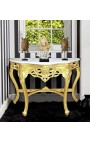 Baroque console with gilt wood and white marble