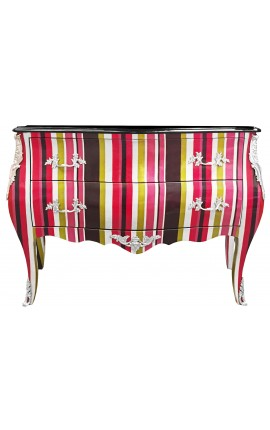 Baroque dresser Louis XV style multicolored stripes, 2 drawers and silver bronzes