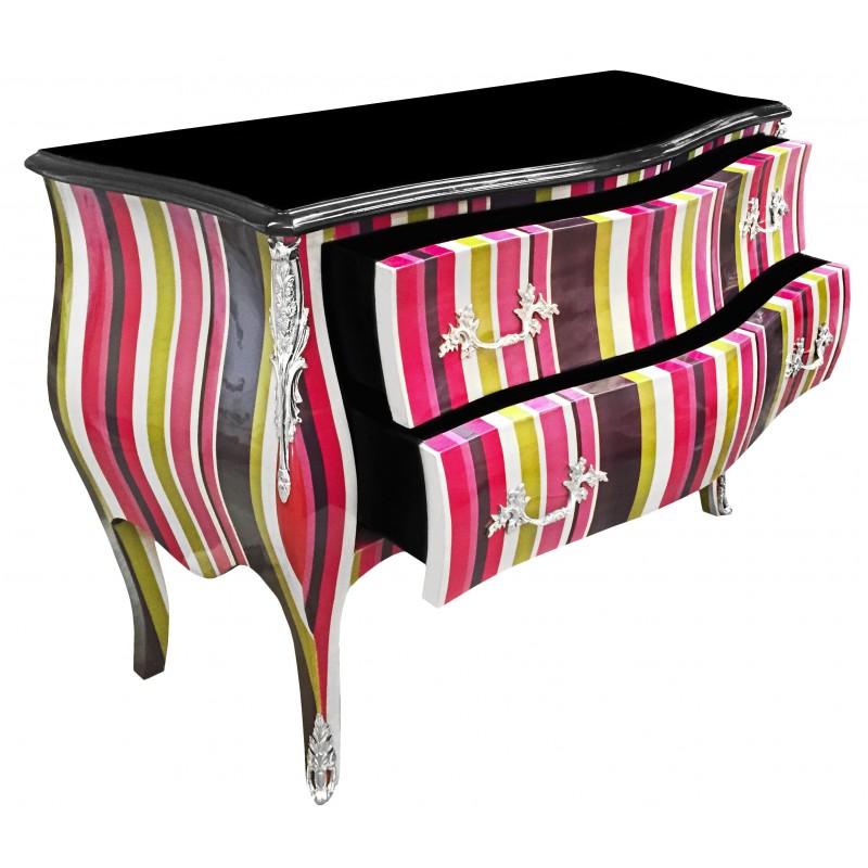 commode baroque de style louis xv multicolore avec 2 tiroirs et bronzes argents. Black Bedroom Furniture Sets. Home Design Ideas