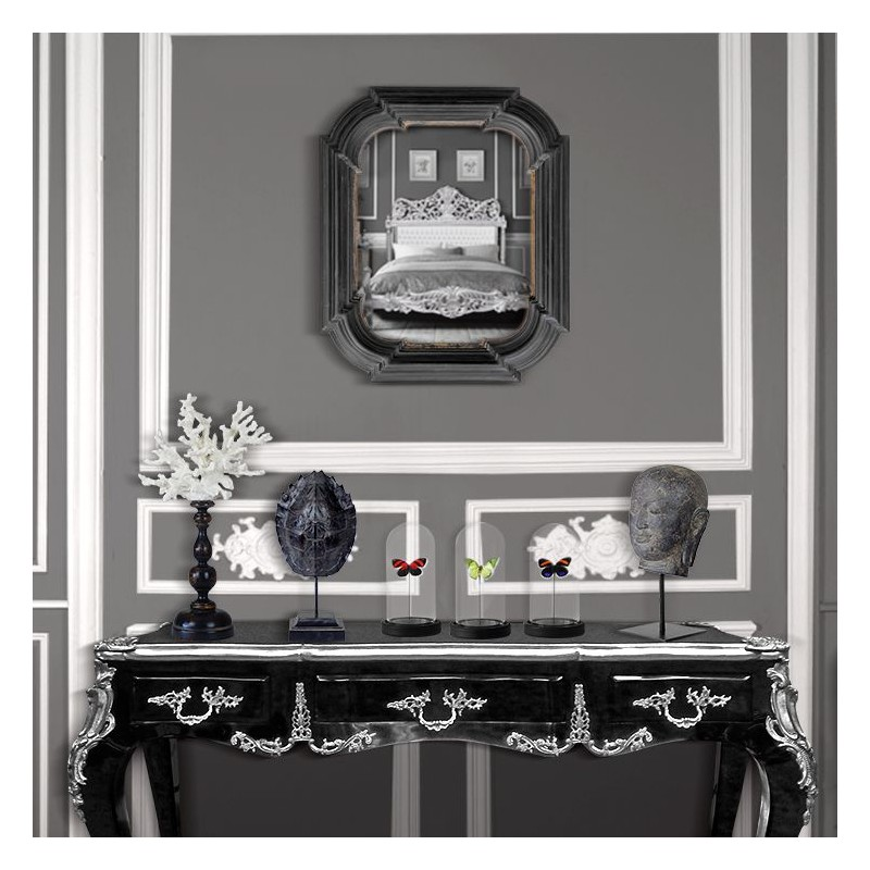 miroir hexagonal rectangulaire noir avec dorure. Black Bedroom Furniture Sets. Home Design Ideas