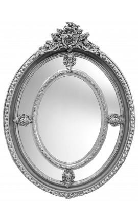 Grand miroir ovale argenté baroque de style Louis XVI