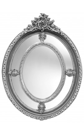 Large oval baroque mirror silver style of Louis XVI