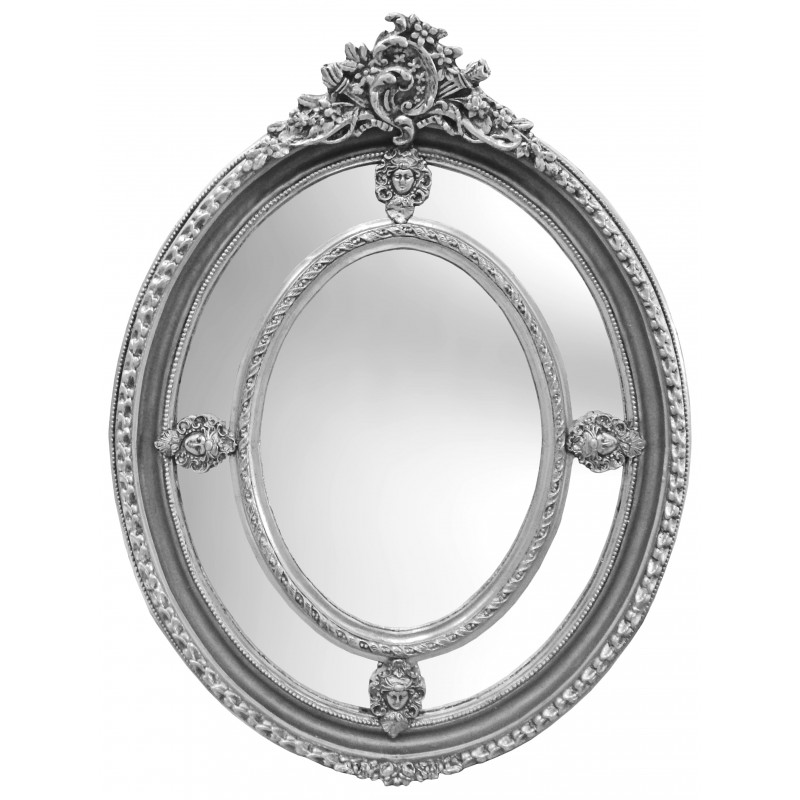 Large oval baroque mirror silver style of louis xvi for Miroir baroque argent