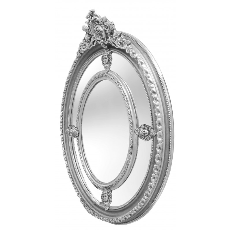 Large oval baroque mirror silver style of louis xvi for Baroque oval mirror