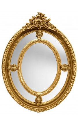 Grand Baroque mirror gilt oval Louis XVI style brothels parks