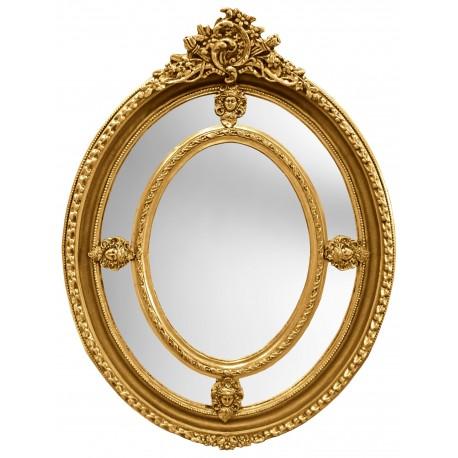 Grand miroir baroque ovale dor de style louis xvi for Miroir baroque noir ovale