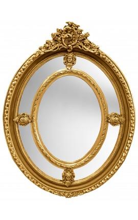 Grand miroir baroque ovale doré de style Louis XVI