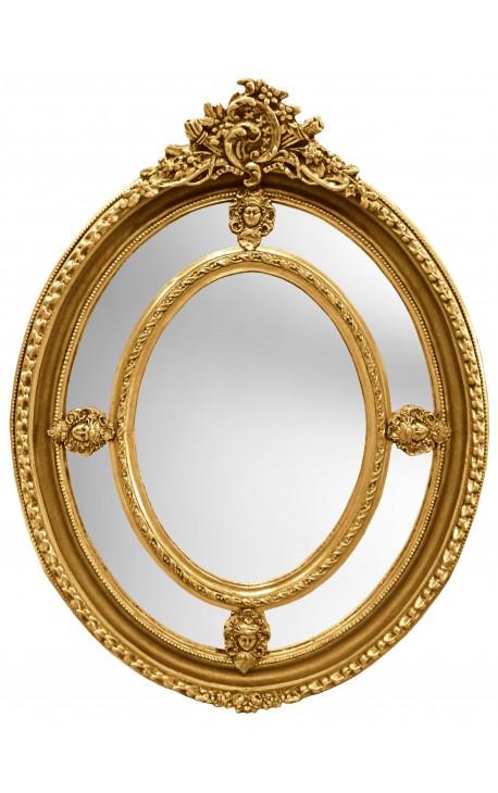 Grand baroque mirror gilt oval louis xvi style brothels parks for Grand miroir blanc baroque