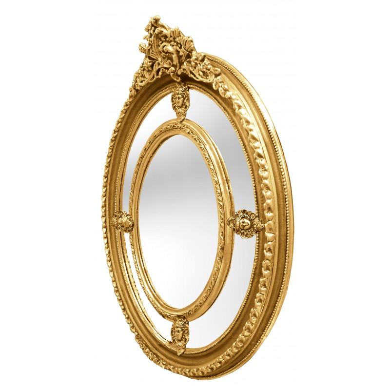 Grand miroir baroque ovale dor de style louis xvi for Grand miroir baroque