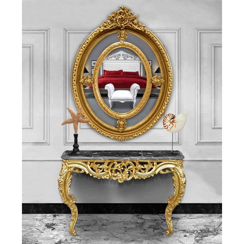 console de style baroque louis xv rocaille en bois dor et marbre noir. Black Bedroom Furniture Sets. Home Design Ideas