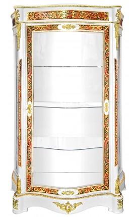 Vitrine avec marqueterie Boulle de style Napoléon III blanche avec bronzes