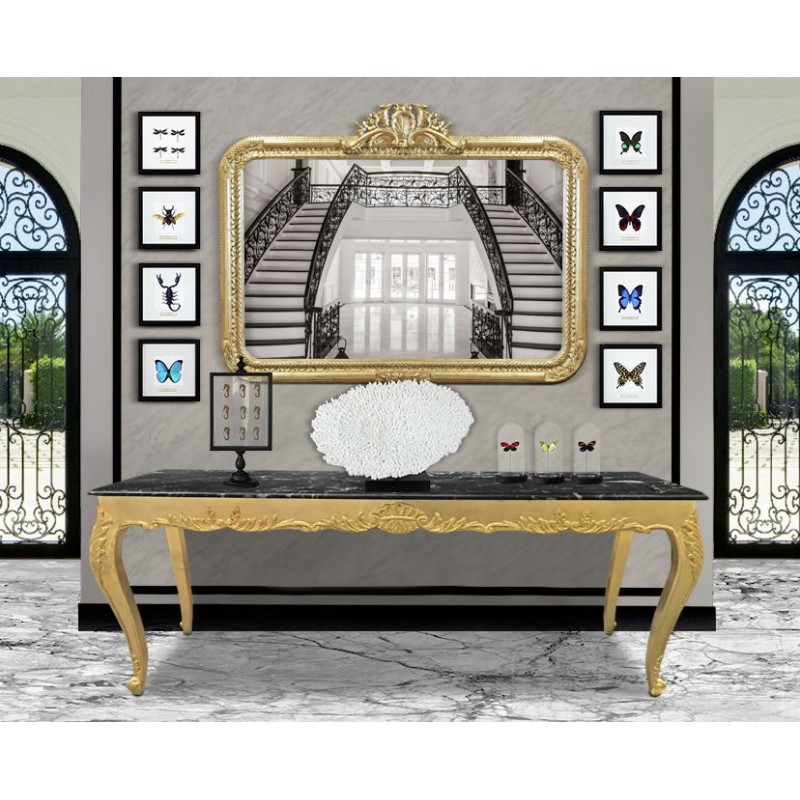 grand miroir baroque rectangulaire de style louis xv rocaille. Black Bedroom Furniture Sets. Home Design Ideas