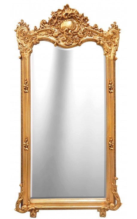 Grand miroir baroque rectangulaire dor for Miroir argente baroque