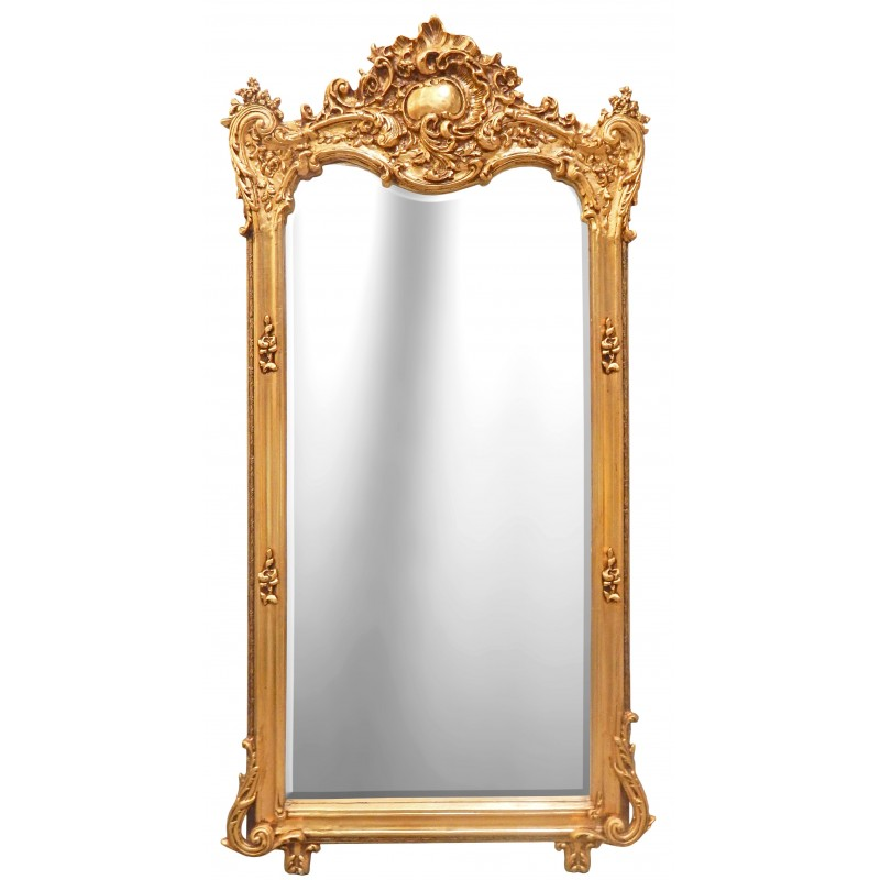 Grand miroir rectangulaire baroque dor for Miroir baroque noir rectangulaire