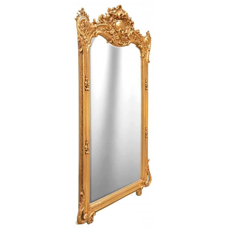 Grand miroir baroque rectangulaire dor for Miroir dore rectangulaire