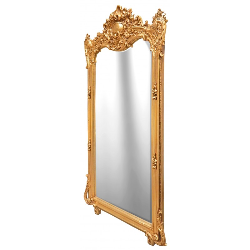 Grand miroir baroque rectangulaire dor for Miroir baroque rectangulaire