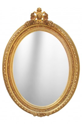 Large baroque mirror oval style of Louis XVI