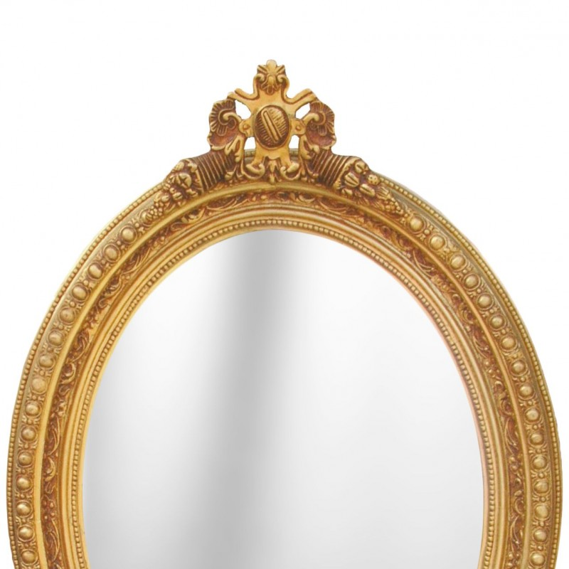 Large baroque mirror oval style of louis xvi for Baroque oval wall mirror