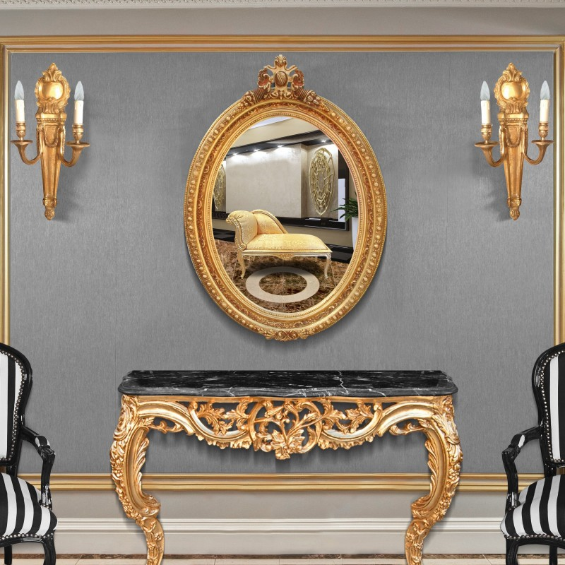 Grand miroir ovale baroque de style louis xvi for Grand miroir baroque