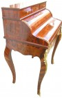 Louis XV style desk cylinder secretary with 7 drawers with marquetry