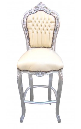 Bar chair Baroque rococo style beige leatherette and silver wood