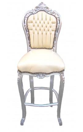 Chaise de bar de style baroque rococo, tissu simili cuir beige et bois argent