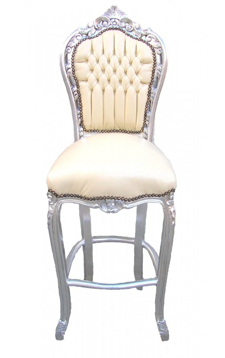 Bar chair Baroque rococo style beige false skin leather and silvered wood