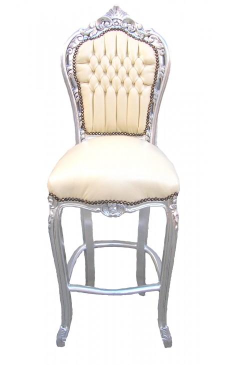 Бар стул в стиле барокко рококо стиль бежевый кожзам и посеребренный древесины