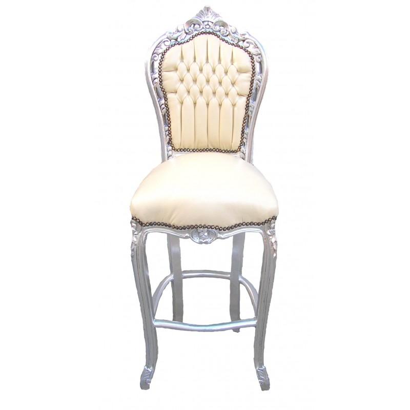 Chaise de bar de style baroque tissus simili cuir beige et for Chaise cuir et bois