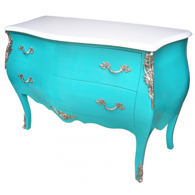 commode baroque de style louis xv turquoise et plateau blanc avec 2 tiroirs. Black Bedroom Furniture Sets. Home Design Ideas