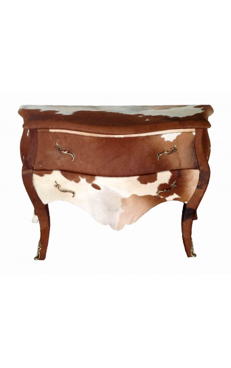 Baroque chest of drawers (commode) of style real cow leather brown and white Louis XV with 2 drawers