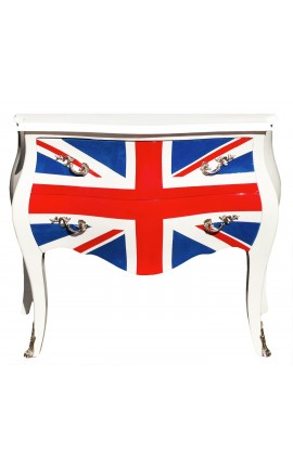 Union Jack Baroque Commode Louis XV style white with 2 drawers