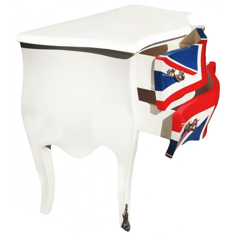 commode baroque union jack de style louis xv blanche avec 2 tiroirs. Black Bedroom Furniture Sets. Home Design Ideas