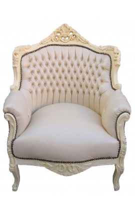 "Armchair ""princely"" Baroque style beige faux leather and beige lacquered wood"