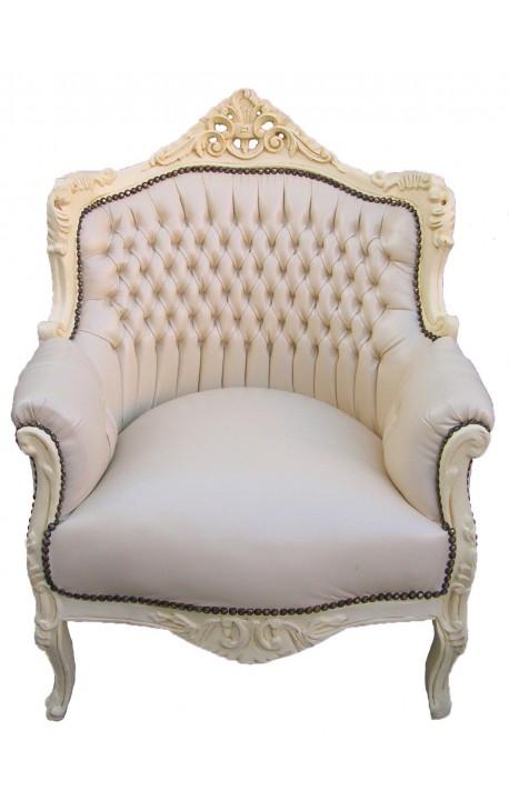"""Fauteuil """"princier"""" de style Baroque simili cuir beige et bois laqué beige"""
